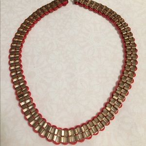 [3/$10] Statement necklace - gold and red